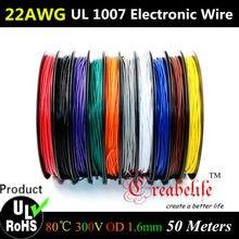 Fil électronique toronné Flexible 50 mètres/roll | 22 AWG-10 couleurs UL 1007 diamètre 1.6mm, conducteur de fil électronique à bricolage