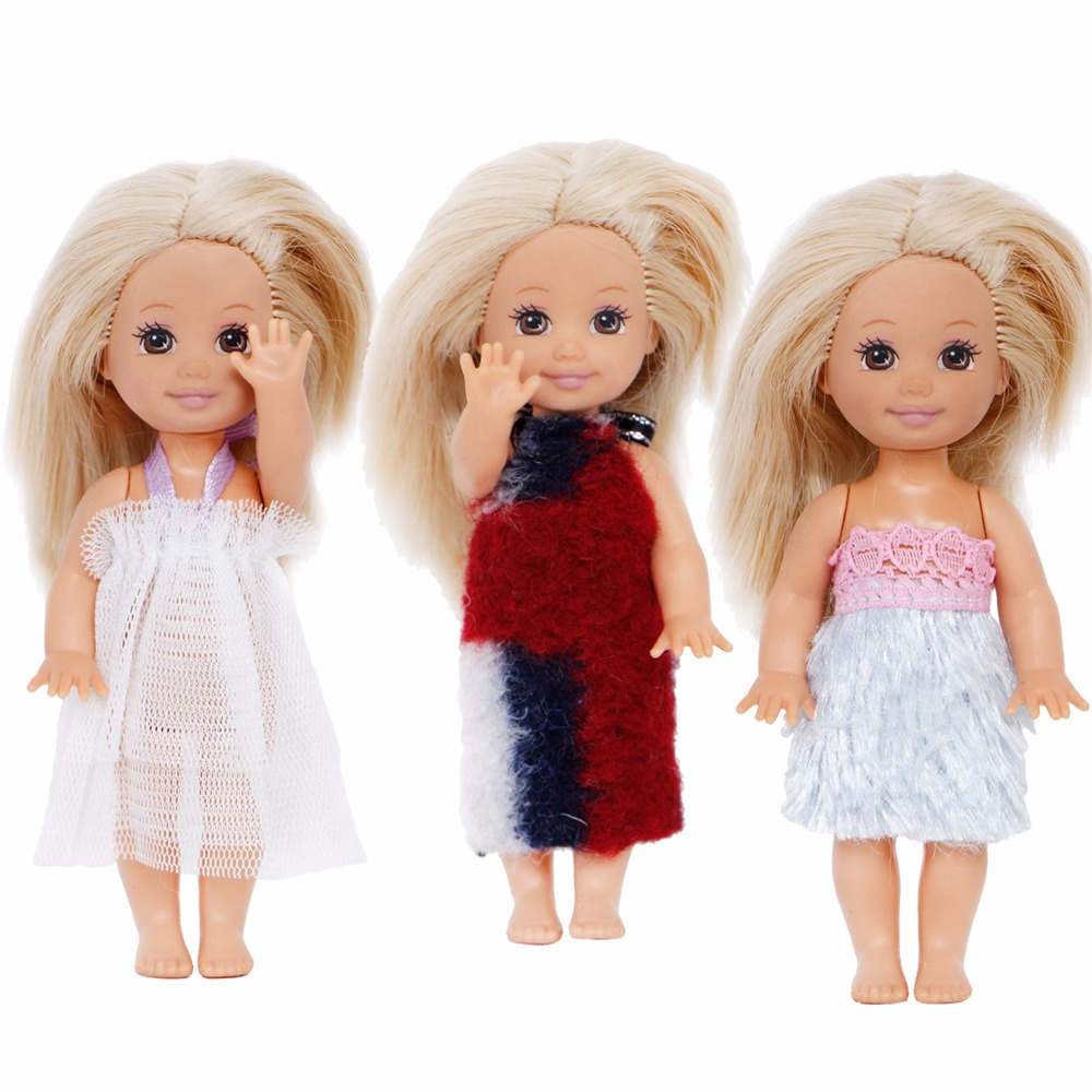 Random 5x Mini Outfit Cute Mixed Style Costume Blouse Trousers Pants Dress Clothes For Barbie Sister Kelly Doll Accessories Gift 10pairs cute shoes for kelly doll shoes for barbie s sister little kelly baby doll 3 5 1 12 mini dolls shoes doll accessories