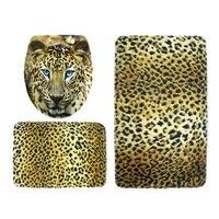 3pcs/set tiger Printed Bathroom Non Slip Sets Pedestal Rug + Lid Toilet Cover + Bath Mat Home Bathroom Products Accessories