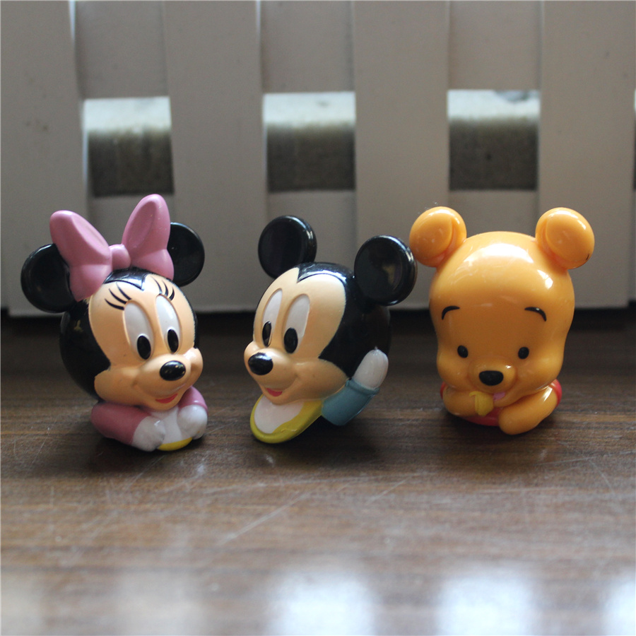 60pcs 3-4cm mickey mouse head minnie head action figures mickey subminiature action figures
