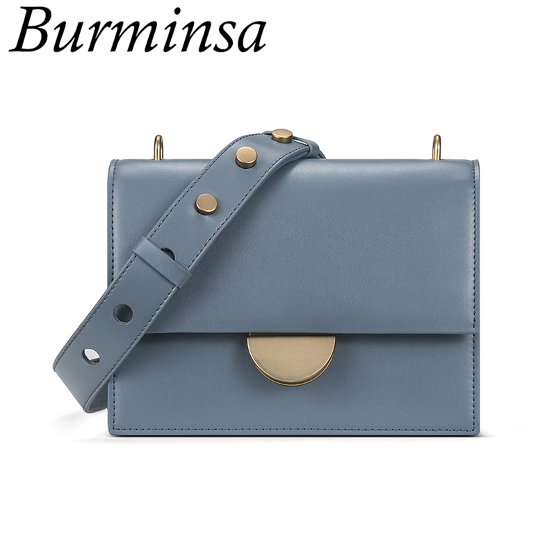 Burminsa Fancy Small Lock Flap Women Genuine Leather Bags Studded Wide Strap Designer Ladies Shoulder Messenger Bags Summer 2019Burminsa Fancy Small Lock Flap Women Genuine Leather Bags Studded Wide Strap Designer Ladies Shoulder Messenger Bags Summer 2019