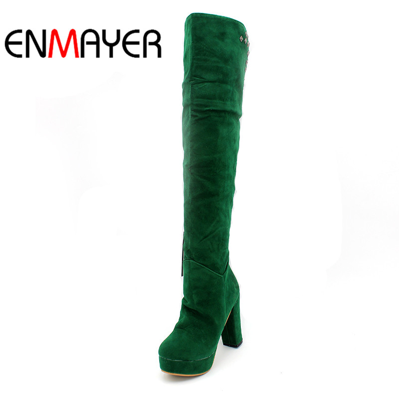 ENMAYER 2018 Autumn Boots Knee High Heel Boots Rivets Women Snow Fashion Winter Footwear Warm Long Flock Boot Shoes Woman цена
