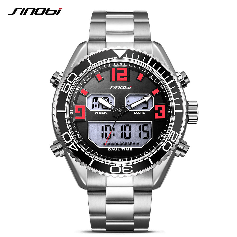 Sinobi Top Brand Luxury Mens Watches Fashion Casual Sport Wrist Watch Men Digital Led Clock Military Sports Relogio Masculino oubaoer fashion top brand luxury men s watches men casual military business clock male clocks sport mechanical wrist watch men