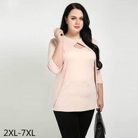 Women Blouses Tops Soft Knitted Fabric Plus Size 3xl 4xl Fashion Blusas Mujer 2017 Elegant Ladies Large Sizes Blouse 5xl 6xl 7xl