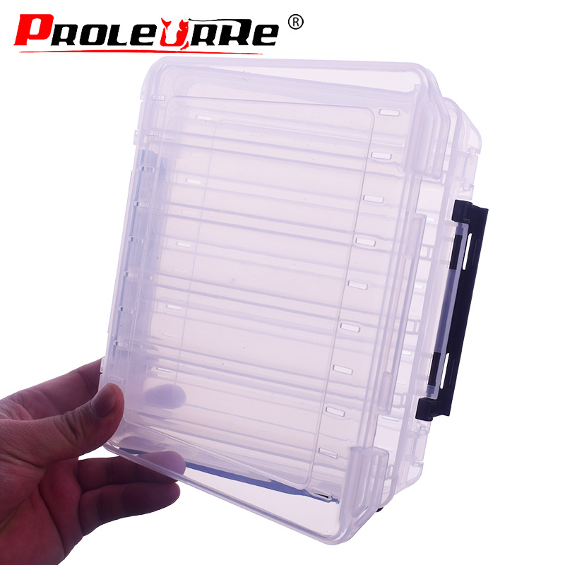 10 grid Portable Outdoor Fishing Gear Baits Box Double-sided Storage Waterproof Durable Plastic Fishing Tackle Box PR-135