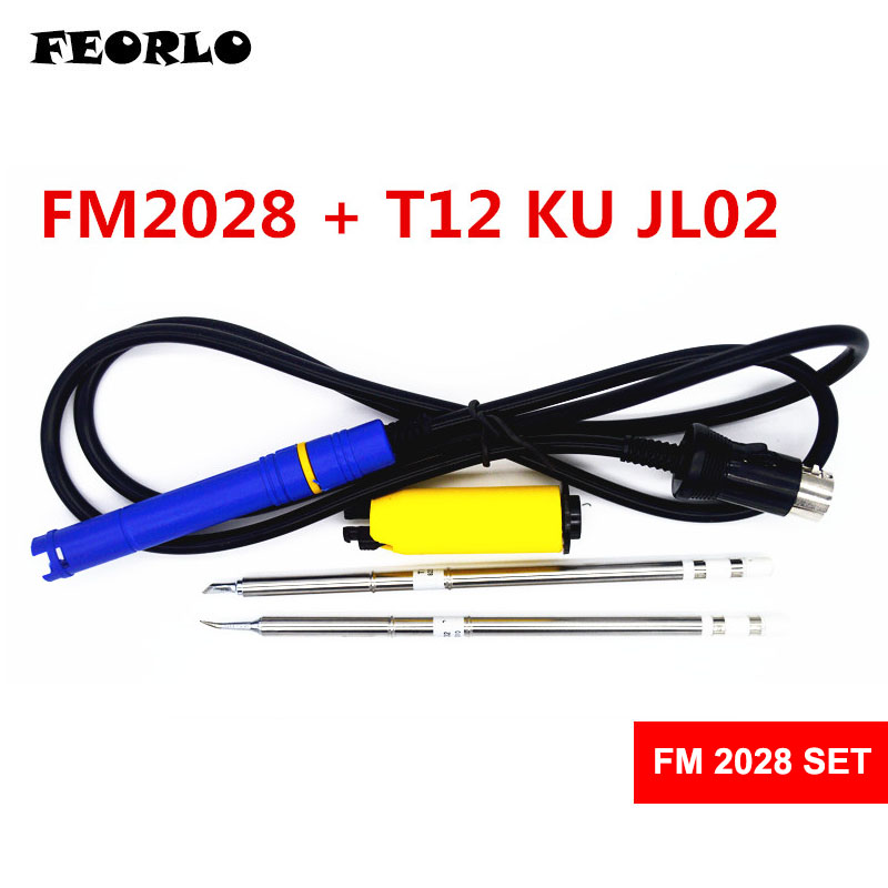 FEORLO FM2028 T12 Soldering Handle For HAKKO FX951 with 2pcs(JL02 K KU I ILS B2Z C1 ) T12 Electronic Solder Soldering Iron Tips freeshipping for fx951 soldering iron replacement handle fm2028 with free t12 i iron tip