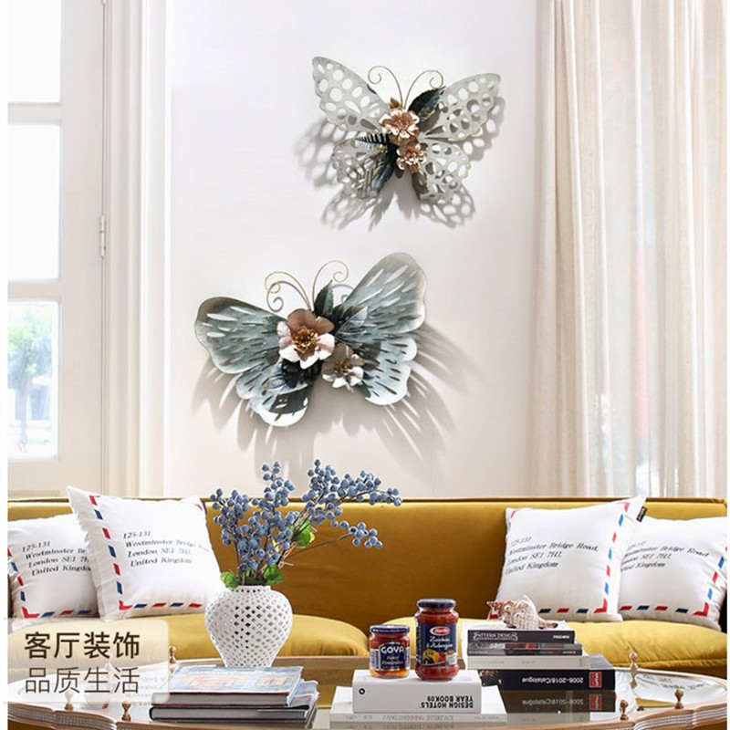 Европейский стиль 3D стерео Кованое железо бабочка настенные декоративные гостиной настенные подвесные фрески домашние ремесла художественное украшение R1270 - 2