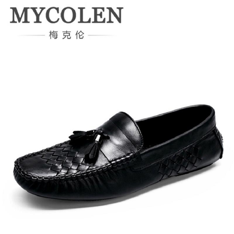 MYCOLEN New 2017 Men Genuine Leather Flats Shoes Fashion Woven Pattern Men Casual Shoes Moccasins Loafers Drivng Shoes Zapatos mycolen spring autumn men loafers genuine leather casual men shoes fashion crocodile pattern driving shoes moccasins flats