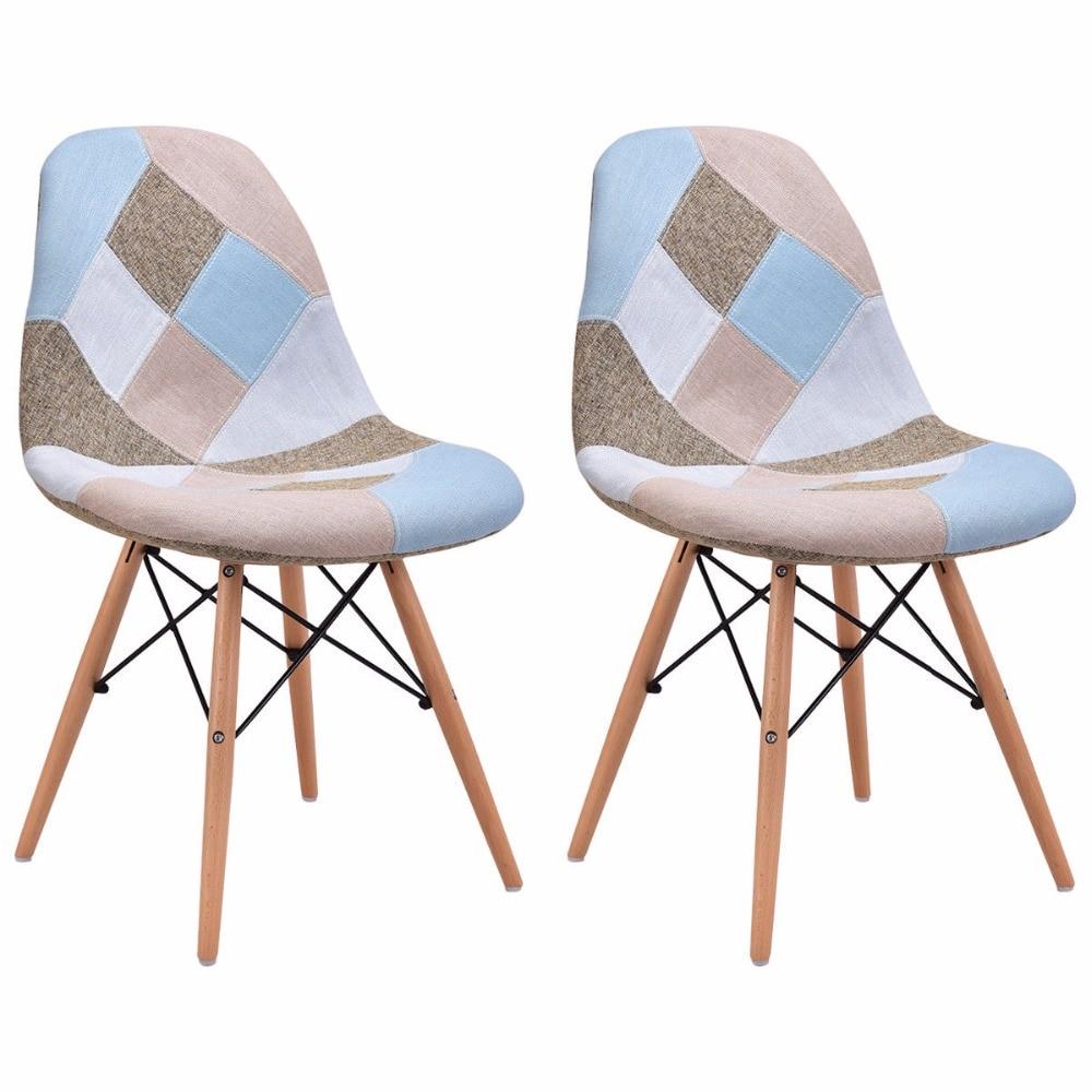 Goplus Set of 2 Pcs Modern Dining Side Chair Armless Linen ...