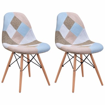 Goplus Set of 2 Pcs Modern Dining Side Chair Armless Linen Upholstered with Wood Legs Mid Century Furniture Dining Chair HW56503