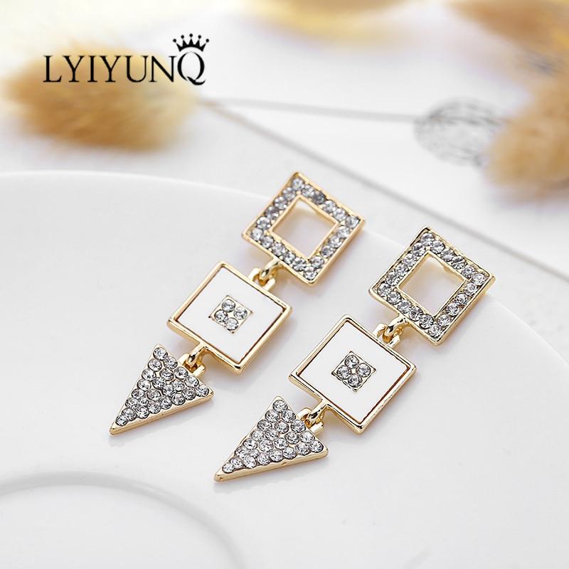 LYIYUNQ Geometric Long Earring Vintage Gold-Color Hyperbole Rhinestone Fine Jewelry Fashion Crystal Stud Earrings For Women