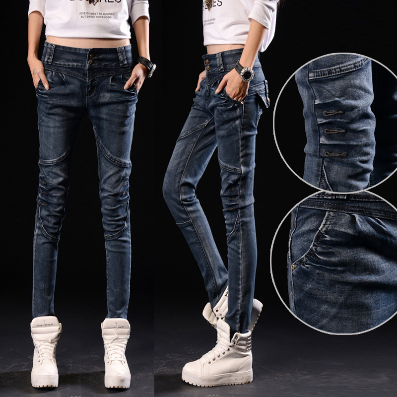 2017 Waist Jeans Light Rushed Cotton Pencil Pants Low Fly Pockets Softener Skinny The New Stretch