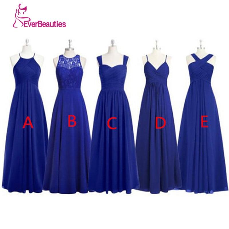 Royal Blue Long Bridesmaid Dresses Pleated Chiffon Alibaba China ...