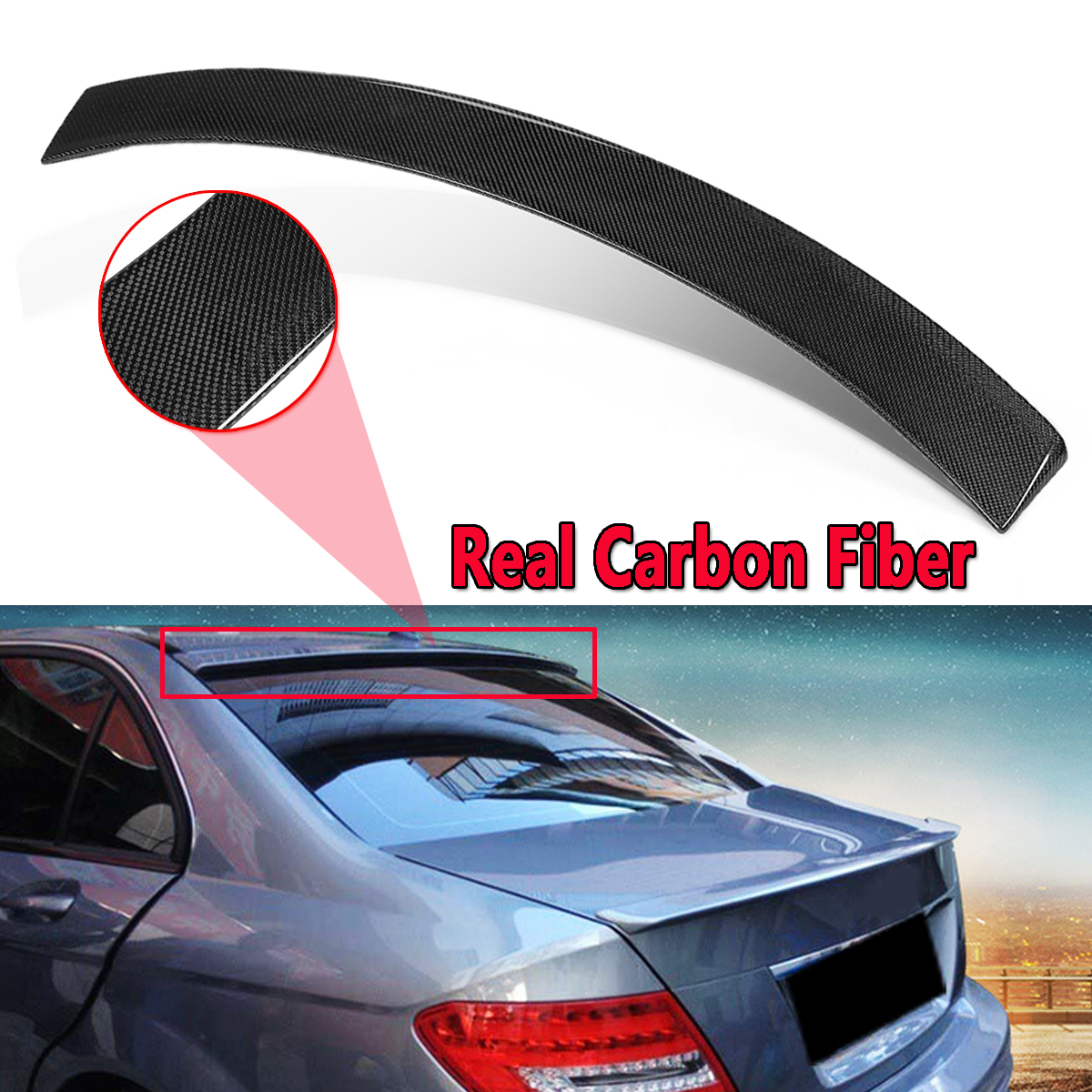Car Real Carbon Fiber Roof Spoiler Lid For Mercedes-Benz W204 C Class Sedan 2008-2014 Rear Wing Spoiler Rear Trunk Roof Wing carbon fiber rear roof spoiler window wing frp black for mercedes benz c class s205 wagon hatchblack 4 door 15 18 not for amg