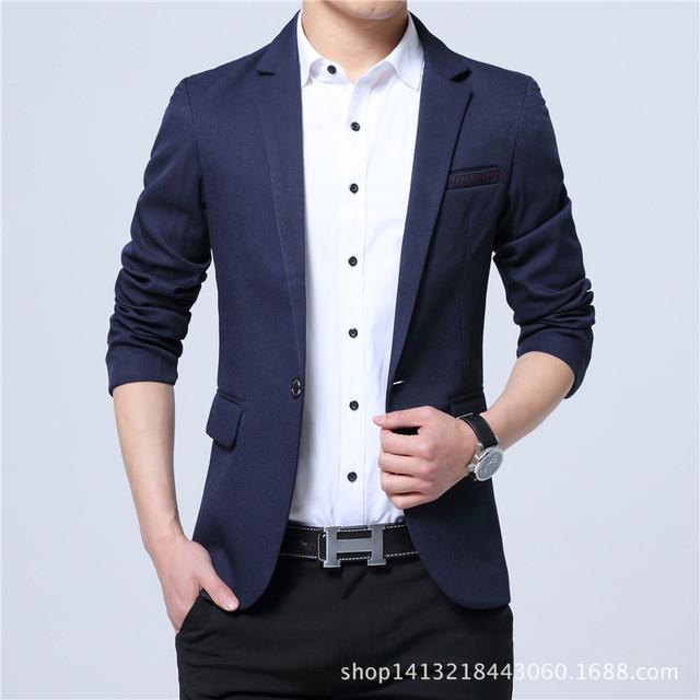 2017 Blazer Dos Homens Casuais Moda Plus Size Negócios Slim Fit Ternos jaqueta Casaco Botão Blazer Masculino Terno Formal Dos Homens Terno jaqueta