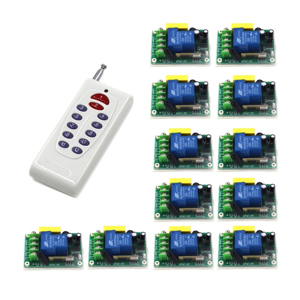 Free Shipping 1 Transmitter+12 Receiver high power wireless remote control switch 220V 30A pump remote control switch SKU: 5526 high quality 1 2 3 channel wireless remote control switch digital remote control switch receiver transmitter