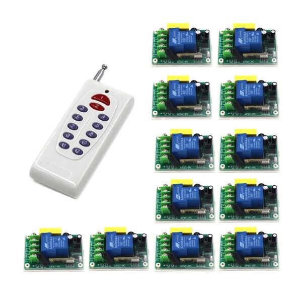 Livraison gratuite 1 transmetteur + 12 récepteur haute puissance sans fil télécommande commutateur 220 V 30A pompe télécommande commutateur ugs: 5526