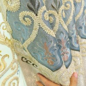 Image 3 - ヨーロッパスタイルシェーディング刺繍、リビングルーム、寝室のカーテンヴィラ、ローマカーテンロッド、ローリング、バックル、垂直、蝶カーテン