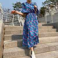 Maxivestido coreano De flores para Mujer, vestido De fiesta bohemio De talla grande, Vestidos Verano 2019, vestido Casual retro floral De color azul, Ropa De Mujer