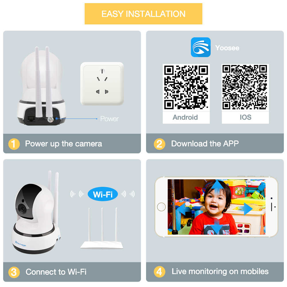 Techage Yoosee APP 1080P كاميرا ip لاسلكية للرؤية الليلية مراقبة الطفل المنزل الأمن 2.0MP 2-طريقة تسجيل الصوت CCTV واي فاي كاميرا