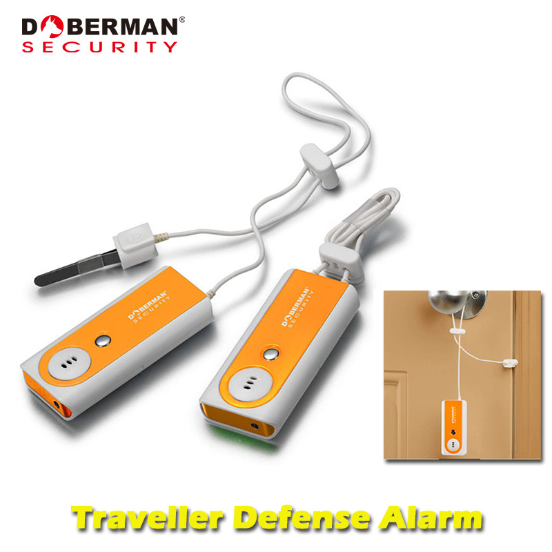 Doberman Security Traveller Defense Alarm Indoor Security Protection Portable Door Alarm with Flash Light Sensor Detector 100dB portable anti theft alarm door portable flashlight sensor alarm detector traveler people bag purse defense alarm led light