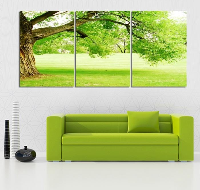 3 piece no framed canvas photo prints thick green trees home office