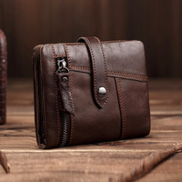 Vintage Men Genuine Leather Wallets Male Purse Money Credit Card Holder vertical Short Zip Around Cowhide Large Capacity Wallet
