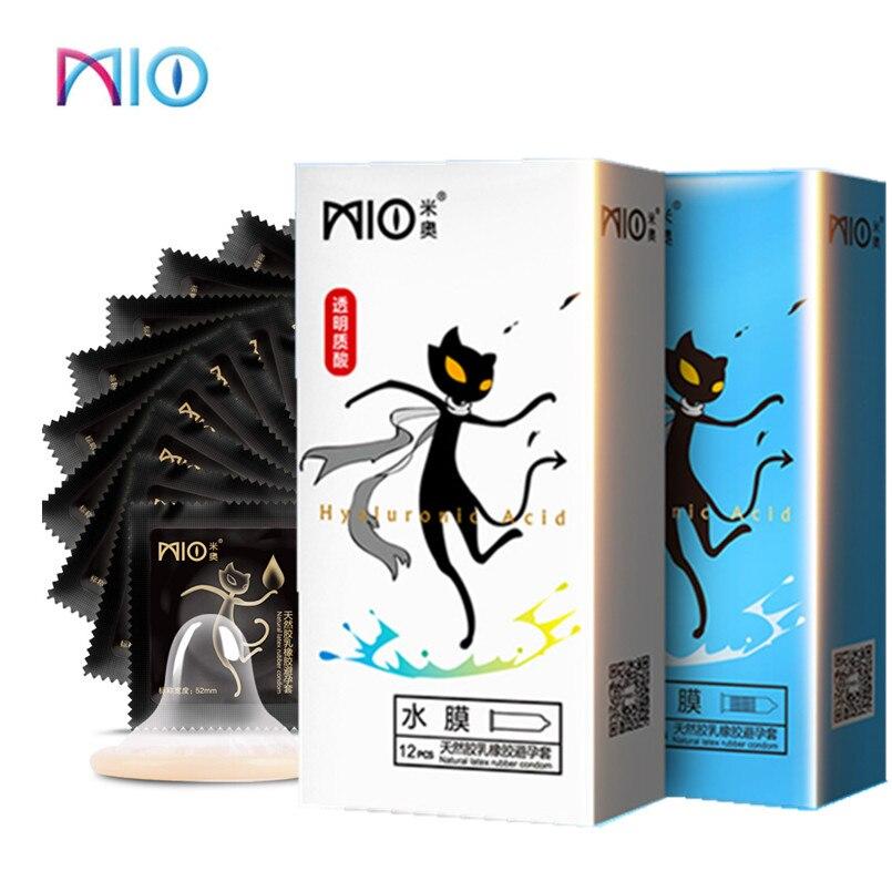 MIO Pico Preservativo Lubrificante Ácido Hialurônico Preservativos de Látex Natural 2 Estilos Ultra-fino Mangas Pênis Adulto Produtos Eróticos para homem