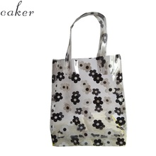 2019 Women Waterproof Plastic Transparent Beach Bag PVC Jelly Bag Flower Printing Contrast Color Bag Handbag Shoulder Bags цена