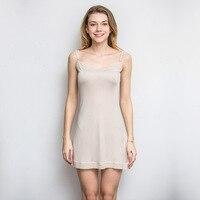 Hoffen 100% Mulberry Silk Women Full Slips Solid Sexy Lace Slip Dress Adjustable Thin Spaghetti Straps Petticoat WS373
