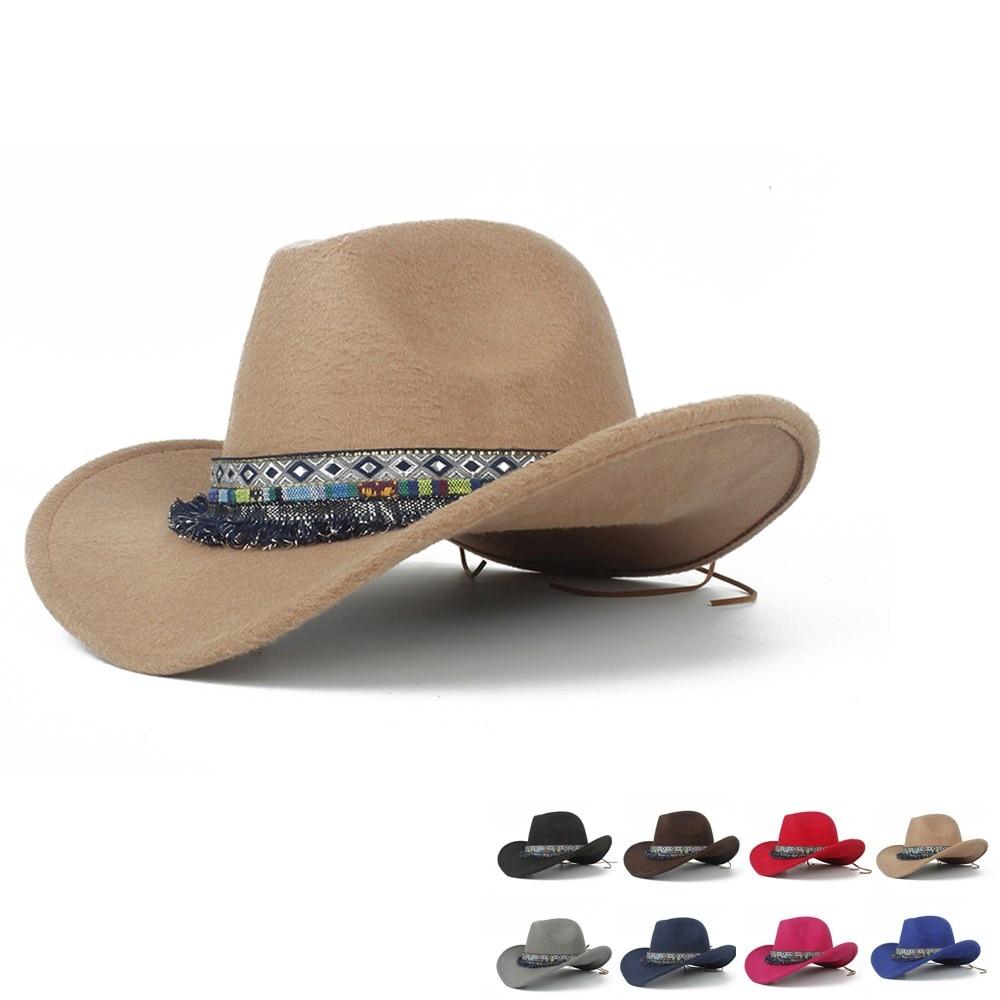 2019 Kind Wolle Hohl Western Cowboy Hut Roll-up Krempe Boy Mädchen Outblack Sombrero Hombre Jazz Kappe Größe 52 -54
