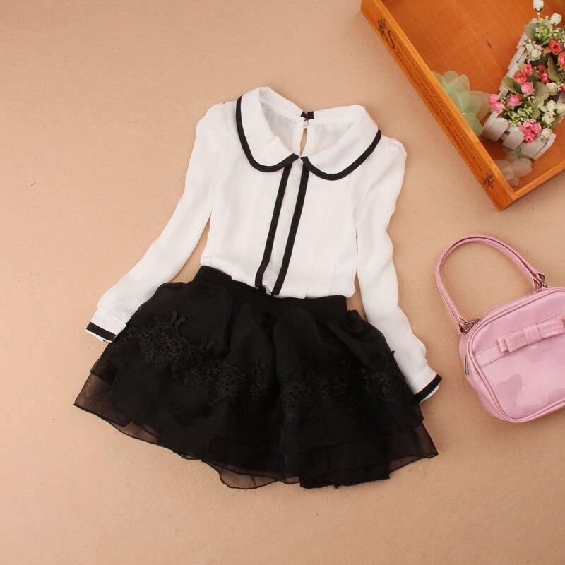 fe55dfe59 Bebés blanco Blusas para Niñas Tops gasa manga larga Camisas para Ropa  femenina de bebé adolescentes Uniformes para el colegio 18 m 24 m 5 7 9 13 en  Blusas ...