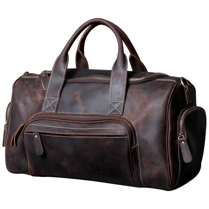 Men And Women Vintage Travel Bags Genuine Leather Luggage Bag Large Capacity Duffel Bag Carry-on Travel Bag