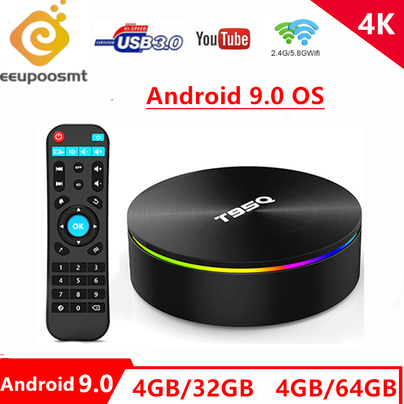 T95Q Android 9.0 Tv Box Amlogic S905X2 Quad Cor 4G 32G 2.4/5.8G Wifi BT4.1 100M 4K lecteur multimédia 4GB64GB Smart tv box PK X96Max