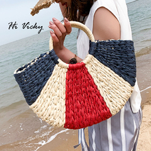 New Summer Colorful Straw Handbag Handmade Bags Women Pompon Beach Weaving Ladies Bag Wrapped Moon shaped
