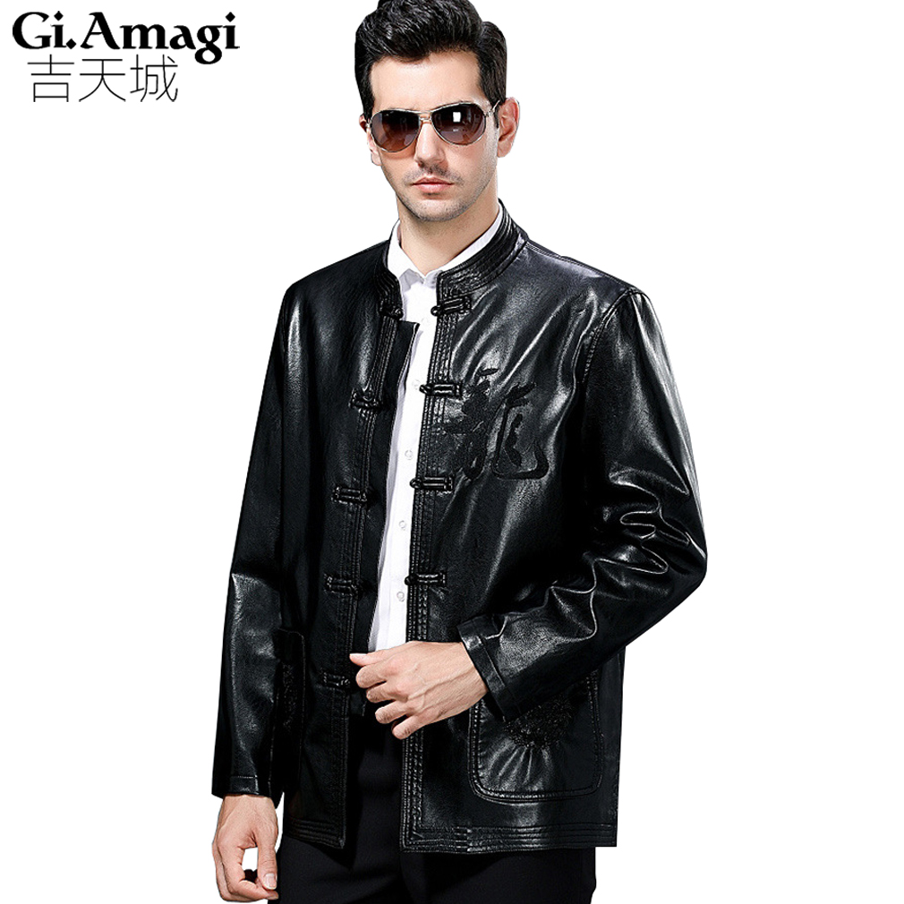 Mens Leather Blazers Spring Autumn Costume Chinese Style Fashion Men's Wear Loose Casual Mens Quilted Leather Jacket