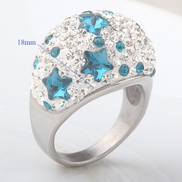 Facile Design Noble European Jewelry Romantic Prong Setting Star Crystal Women Anniversary Stainless Steel Wedding Rings