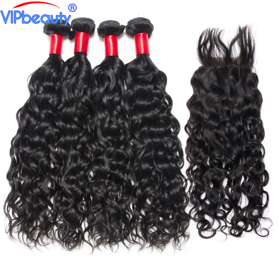 Indian water wave bundles with closure vip beauty human hair 3 bundles with lace closure remy hair extension 1b