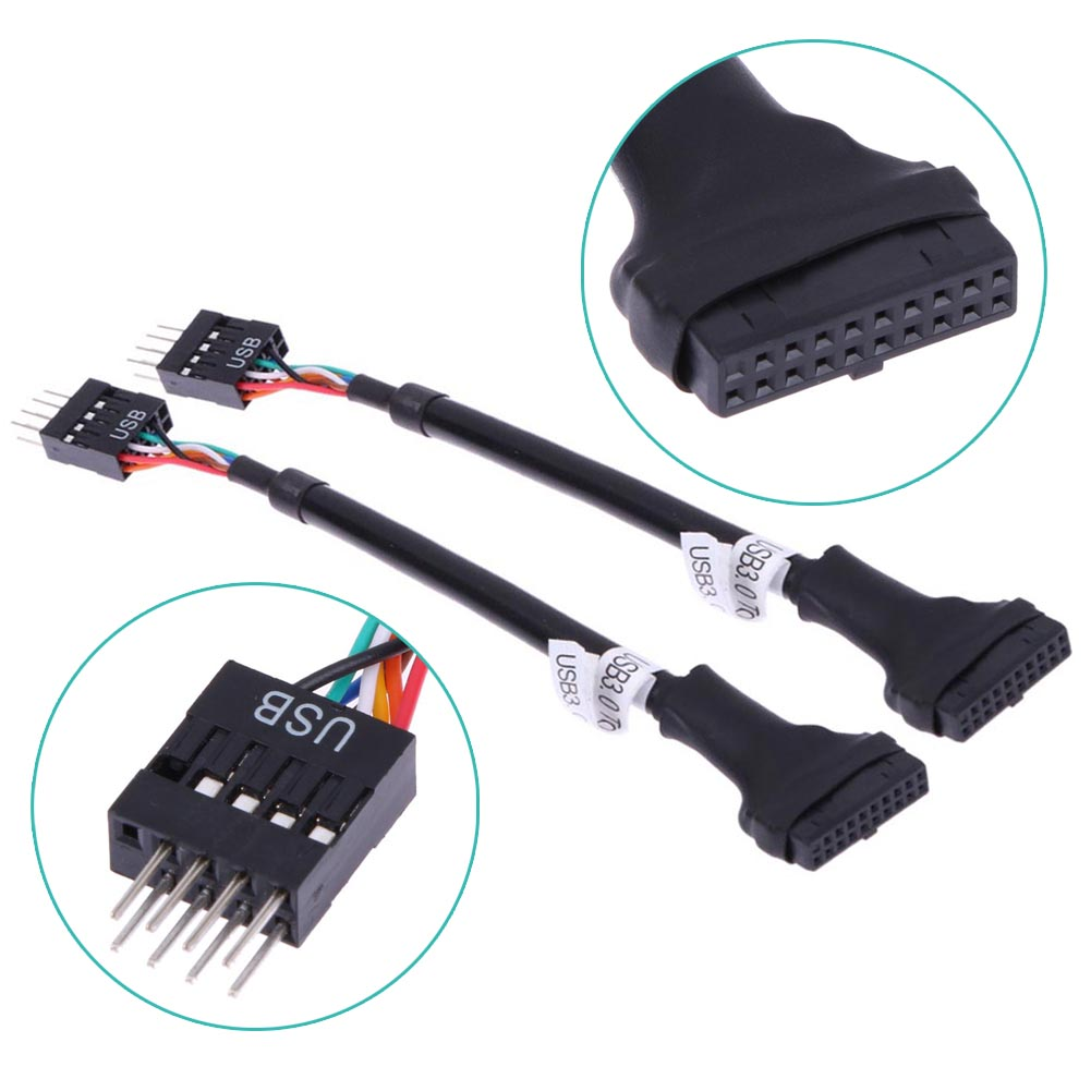 20Pin 19Pin <font><b>USB</b></font> <font><b>3.0</b></font> Female To 9Pin <font><b>USB</b></font> 2.0 Male Motherboard <font><b>Cable</b></font> Adapter Cord 480mbps Data Speed Computer <font><b>Cable</b></font> Connectors image