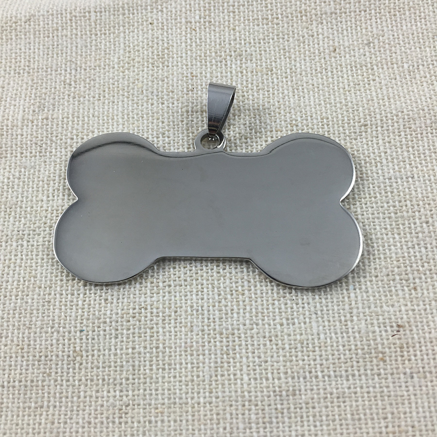 100pcs lot Large Size Bone Stainless steel Pet ID tag engraving text front and back sides