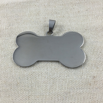 100pcs/lot Large Size Bone Stainless steel Pet  ID tag engraving text  front and back sides customized name address