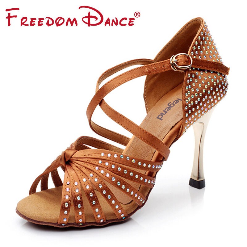 "Satijn Bovenste Strass Dames Latin Dansschoenen Ballroom Schoen Sandalen 3.45 ""Goud Hak Meisjes Zapatos De Baile Latino Zwart Tan"