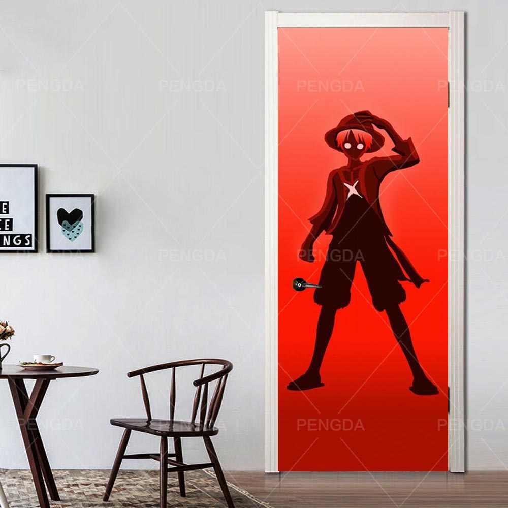 Diri Perekat 3D Pintu Stiker Dekorasi Rumah Wallpaper Tahan Air Naruto Anime Cetak PVC Poster Dinding Seni Gambar Untuk Kamar Anak