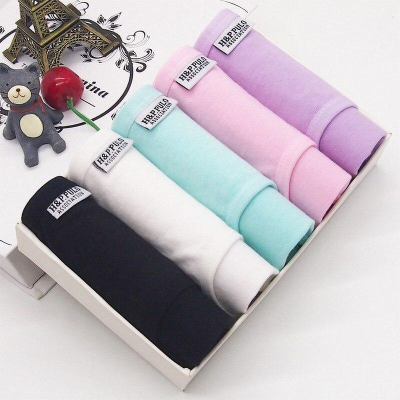 NO Gift Box 5pcs/set Solid Color   Panties   Women Underwear Set Cotton   Panties   Low-Rise Comfortable Breathable Underpants