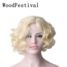 WoodFestival Woman Heat Resistant Brown Black Short Blonde Wig Synthetic Hair Curly Cosplay wigs Women