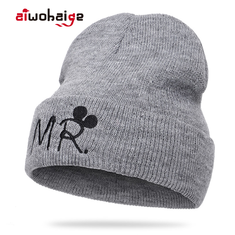 2019 New Adult Children MR/MRS Embroidery Knit Beanie Girls Boys Winter Warm Soft Cap Cute Kids Cartoon Hat Cotton Skullies