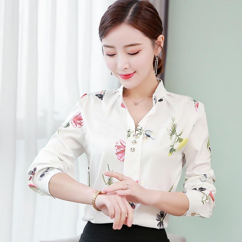 Women's   blouse   office chiffon   blouse     shirt   casual tops plus size blusas mujer de moda 2019 White 5XL   blouses