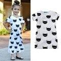 Dhl el ccsme libre 2017 nueva primavera kids dress casual gato de algodón de manga corta del desgaste de los niños de los bebés dress verano estilo