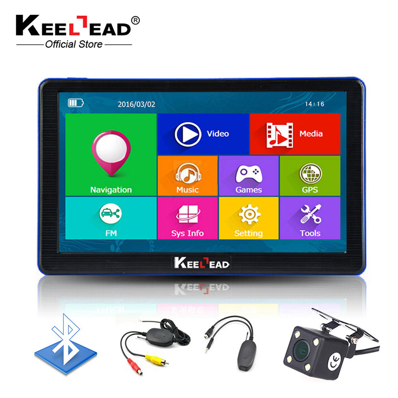 Keelead 7 дюймов HD Автомобильный GPS навигации 800 мГц/FM/8 ГБ Bluetooth AVIN навигатор 2017 Карты для россия/Европа/США + Канада грузовик Navi