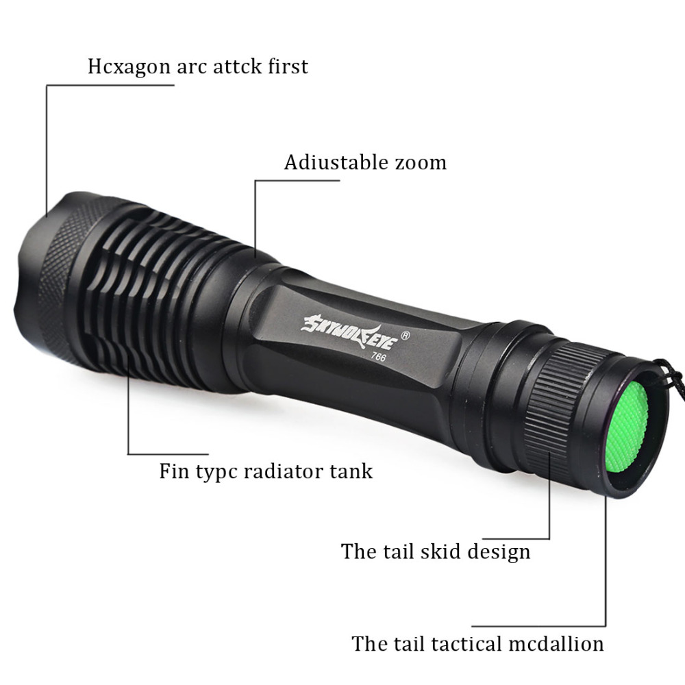 SKYWOLFEYE XML T6 LED Tractical Flashlight Zoomable Waterproof High Power LED